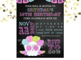 Sugar Skull Baby Shower Invitations Sugar Skull Invitation Chalkboard Invitation Printed