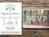 Summer Camp Wedding Invitations Redwoods Camp Wedding Invitation Vintage Postcard Rsvp
