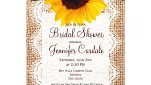 Sunflower Bridal Shower Invitation Templates Rustic Burlap Sunflower Bridal Shower Invitations