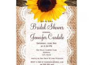 Sunflower Bridal Shower Invitation Templates Rustic Burlap Sunflower Bridal Shower Invitations