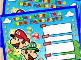 Super Mario Bros Birthday Party Invitation Templates Mario Birthday Invitations Template Resume Builder
