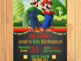 Super Mario Bros Birthday Party Invitation Templates Super Mario Brothers Invitation Chalkboard Super Mario
