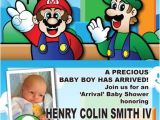 Super Mario Brothers Baby Shower Invitations Super Mario Bros themed Baby Shower Invites