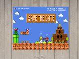 Super Mario Wedding Invitations Wedding Invitation Mario Bros Pixel Nintendo Peach Mario