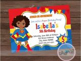 Supergirl Birthday Party Invitations Super Girl Party Invitation African American Supergirl