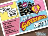 Supergirl Birthday Party Invitations Supergirl Birthday Invitation Diy Superhero Comic Book Card