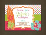 Surf Birthday Party Invitations Beach Surfing Girls Birthday Party Invitation by