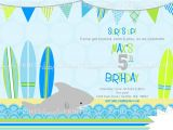 Surf Birthday Party Invitations Shark Surf Boards Birthday Invitation Dimple Prints Shop