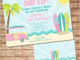 Surf Birthday Party Invitations Surf Birthday Party Invitation for Girl In Pink by