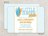 Surf Birthday Party Invitations Surf Board Birthday Invitation Chevron Quot Little Surfer Dude