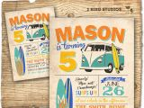 Surf Birthday Party Invitations Surf Invite Surfboard Invitation with Camper Van Vintage