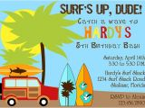 Surf Birthday Party Invitations Surfer Dude Birthday Party Invitation Boy Diy Printable