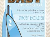 Surfer Baby Shower Invitations Baby On Board Surf themed Baby Shower Invitation