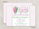 Surfer Girl Baby Shower Invitations Surfboard Baby Shower Invitation Surfer Birthday