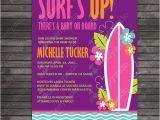 Surfer Girl Baby Shower Invitations Surfer Baby Shower Invitation Baby Board Luau Girl Baby