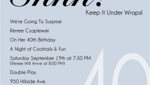 Surprise 40th Birthday Party Invitations Templates Free 40th Party Invitation Template Free