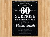 Surprise 60 Birthday Party Invitations Surprise 60th Birthday Invitation Chalkboard Birthday Party