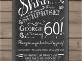 Surprise 60 Birthday Party Invitations Surprise 60th Birthday Invitation Chalkboard Invitation