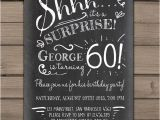 Surprise 60th Birthday Invitation Wording Ideas Surprise 60th Birthday Invitation Chalkboard Invitation