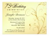 Surprise 75th Birthday Party Invitations 75th Birthday Surprise Party Gold Floral Large 6 5×8
