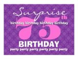 Surprise 75th Birthday Party Invitations 75th Surprise Purple Birthday Party S454 5×7 Paper
