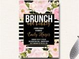 Surprise Birthday Brunch Invitations Brunch and Bubbly Bridal Shower Invitation Black by
