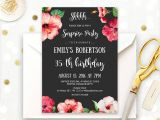 Surprise Birthday Brunch Invitations Surprise Birthday Party Invitations Printable Hibiscus