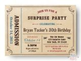 Surprise Birthday Party Invitations for Adults Adult Surprise Birthday Invite Admit One Ticket Birthday