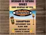 Survivor Party Invitations Survivor theme First Birthday Party Survivor Invite First