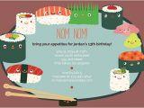 Sushi Party Invitation Kids Birthday Invitations Oubly Com