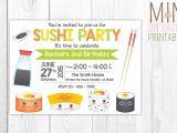 Sushi Party Invitation Sushi Invitation Sushi Invitation Printable Sushi Invitation