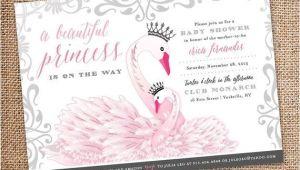 Swan Princess Baby Shower Invitations Baby Shower Invitation – Princess Swan theme Digital File