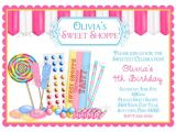 Sweet Shop Birthday Party Invitations Candy Birthday Invitations Sweet Shop Invitations Candy Shop