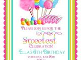 Sweet Shop Birthday Party Invitations Candy Circus Invitations Sweet Shop Birthday Party