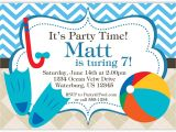 Swimming Pool Party Invitation Free Template Pool Party Invitation Blue Chevron and Tan Argyle Beach