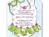 Swimsuit Party Invitations Girly Swimsuit and Glasses Birthday Invitations
