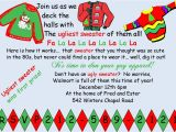 Tacky Christmas Sweater Party Invitation Wording Ugly Sweater Christmas Party Invitations