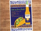 Taco Party Invitation Wording Mosaic Mexican Food Taco Fiesta Party Invitation