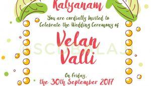 Tamil Wedding Invitation Template Vector south Indian Tamil Wedding Invitation Design and