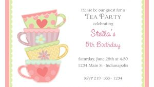 Tea Party Invitation Template Free Free afternoon Tea Party Invitation Template