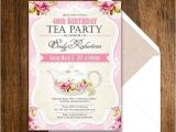 Tea Party Invitation Wording for Adults Tea Party Birthday Invitation Printable Adult Girl Invite
