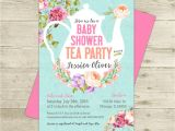Tea Party themed Baby Shower Invitations Tea Party Baby Shower Invitation Floral Shabby Girl Baby