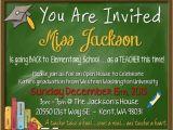 Teacher Graduation Invitations Digital File Teacher themed Chalkboard Graduation