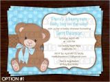 Teddy Bear Baby Shower Invitations Free Printable Diy Blue and Brown Teddy Bear theme Personalized