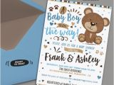 Teddy Bear Baby Shower Invites Blue and Brown Little Bear Baby Shower Invitation