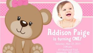 Teddy Bear First Birthday Invitations Pink Teddy Bear Birthday Party Invitation Digital File