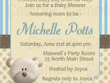 Teddy Bear Invitations for Baby Shower Blue Teddy Bear Baby Shower Invitation Personalized