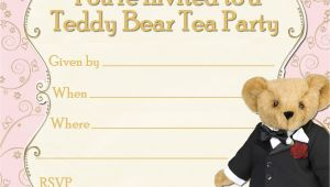 Teddy Bear Party Invitations Templates Free Printable Party Invitations Tuxedo Teddy Bear Tea