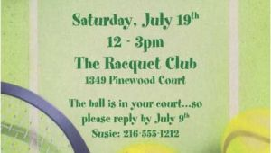 Tennis Party Invitation Tennis Party Invitation