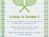 Tennis Party Invitation Tennis Party